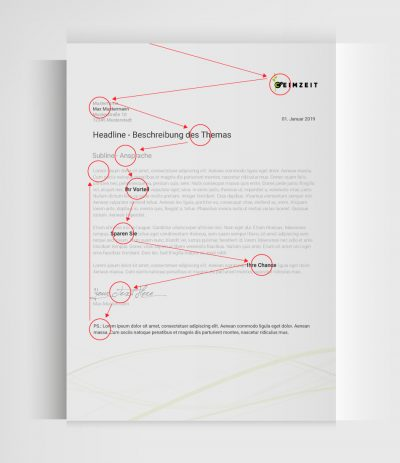 Infografik Blickverlauf Anschreiben Einladung